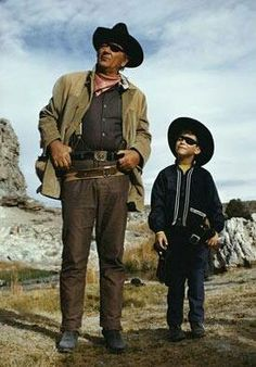 John Wayne and his son Ethan on the set of TRUE GRIT.