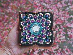 Dot Mandala Painting on Mini Wrapped Canvas 4 x 4
