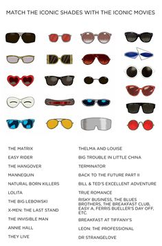Match iconic movie titles to iconic sunglasses!