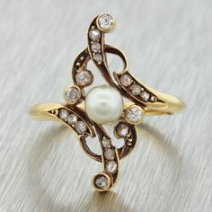 1870s Antique Victorian Estate 14k Solid Yellow Gold Rose Cut Diamond Pearl Ring…