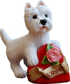 Valentine Westie with Heart by PeakdaleSculptures on Etsy