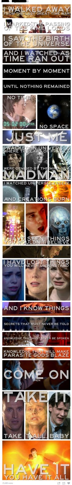 One of Eleven's best moments. I am.crying of sadness and anger. I am angry cuz they did not put any thing of a fess ( or fez I never know the right word) or a bow tie. Any whovian would be sad.   :-(