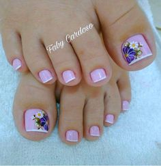 Floral pattern nails step by step Nail Art Designs, Pedicure Designs, Nail Polish Designs, Nails Polish, Gel Nails, Toenails, Pink Tip Nails, Toe Nail Color, Toe Nail Art