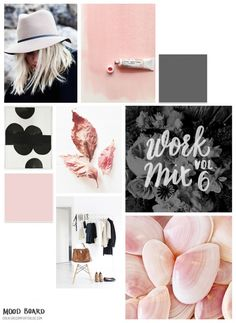 Mood Board Style on grey and pink. See more: http://www.brabbu.com/en/inspiration-and-ideas/