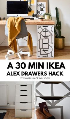 How to update the popular IKEA Alex drawers using contact paper! And a sneak peek of my current work from home set up! #IKEAHACKS #HOMEOFFICE Home Office, Office Desk, Ikea Alex Drawers, Contact Paper, Reuse Recycle, Upcycled Furniture, Ikea Hack, Repurposed, Fall Diy
