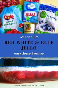 Everyone will love this patriotic Red White and Blue Jello, especially when you top it with whipped cream! It's a fun no bake dessert to celebrate the 4th of July or Memorial Day that is simple enough for kids to make, with a little help. #4thofjuly #jello #nobake #desserts Rainbow Jello, Blue Jello, Strawberry Jello, Strawberry Ice Cream, Jello Recipes, Snack Recipes, Snacks, Frozen Cherries, Frozen Strawberries
