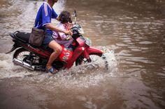 menerjang banjir .