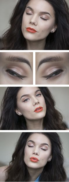 """Today's Look : """"I Just Wanna Be A Rockstar"""" -Linda Hallberg ( a very soft peach-y coral eye look with a light brown liner and a gorgeous orange lip) 03/21/14"""