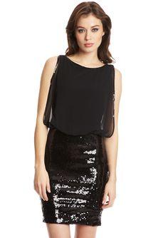 NIGHTWAY Sleeveless Blouson Sequin Twofer Dress