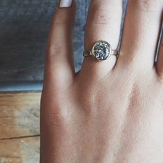 Ash Hoffman jewelry custom 14 k yellow gold + moissanite ring