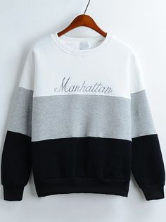 Colour-block Round Neck Letters Embroidered Sweatshirt -SheIn(abaday)