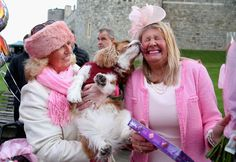 Judy Daley and Anne Daley from Cardiff brought their pet pooch along to see the Queen on her 90th birthday. (Chris Jackson/Getty Images)