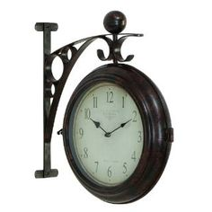 Check out the Woodland Imports 42807 Metal Designed with Antique Look Wall 2 Side Clock priced at $98.40 at Homeclick.com.