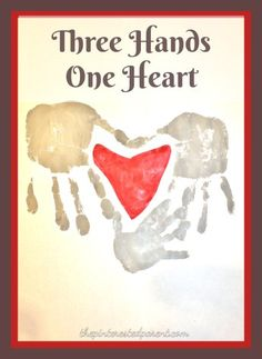 Three Hands One Heart Family Keepsake Handprint Craft