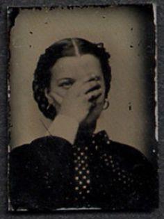 "tuesday-johnson: "" ca. [gem tintype portrait of a woman coyly hiding her face] "" Antique Photos, Vintage Pictures, Vintage Photographs, Vintage Images, Time Pictures, Old Pictures, Old Photos, Louis Daguerre, Vintage Photo Booths"