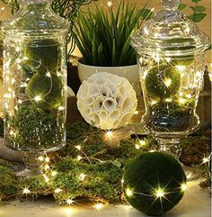 Copper Wire Lights Strings, LTROP 100 LED Battery Powered Starry String Lights, Ambiance Lighting Décor Rope Light for Outdoor,… Copper Wire Fairy Lights, Led Fairy Lights, White Led Lights, Holiday Lights, Christmas Lights, Christmas Trees, Moon Lights, Outdoor Christmas, Christmas Holiday