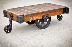 Vintage industrial factory cart coffee table... yes please!!!!!