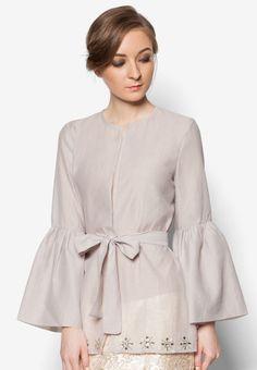 Organza Kimono Wrap from POPLOOK Premium for Zalora in grey_1