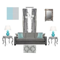 Turquoise and gray for a living room... the wall color is Dulux's Glistening Sea, and the gray accent color is Benjamin Moore's Sweet Innocence
