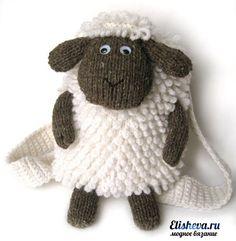 Рюкзак «Веселая овечка» вязаный спицами и крючком