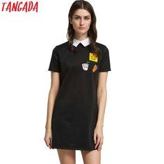 Tangada Korean Dresses Women Clothing Mini Dresses Black Friday Shirt Dress Summer Short Sleeve Designer Vestidos Fashion Female