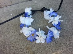 White and Blue Floral Headband/ Flower Crown. by DevineBlooms, $13.00