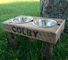 """Recycled pallet dog stand pet feeding station with 2 brand new stainless steel bowls.chestnut finish  21"""" L X 11"""" W X 11"""" T"""