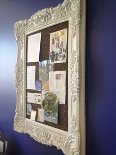 Old picture frame cork board, covered with lace. Ideas Paneles, Office Decor, Office Chic, Inspiration Boards, Getting Organized, Craft Projects, Craft Ideas, Fun Crafts, Home Furniture