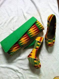 African Print Shoes and Purse. African Wax by EJAfricanProducts
