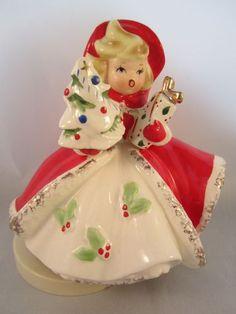 Vintage Christmas Figurine Girl Shopping