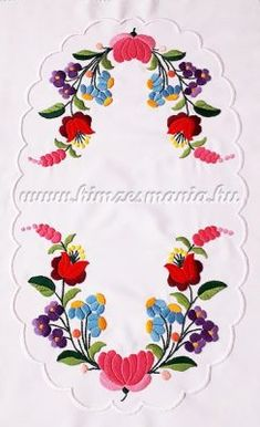 Table runner - hungarian folk embroidery - Kalocsai pattern - handmade white borders - cm, Table runner - hungarian folk embroidery - Kalocsai pattern - h Crewel Embroidery Kits, Hungarian Embroidery, Learn Embroidery, Embroidery Patterns, Machine Embroidery, Embroidery Supplies, Embroidery Techniques, Craft Patterns, Chain Stitch