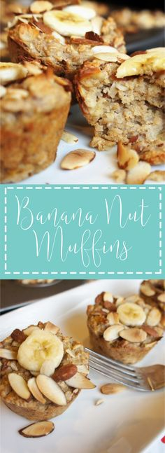 Quick and easy breakfast! Healthy Oatmeal Banana Nut Muffins.