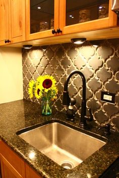 Backsplash - LOVE  i am in the flooring business and I have not seen tile like that yet. it must be expensive but definitely beautiful