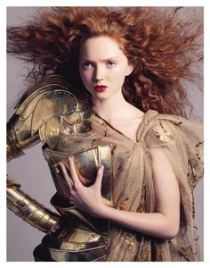 Red hair and lips and my gold armour ~ Lily Cole and Andreas Sjodin Vogue.