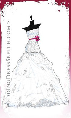 LOVE this idea. Custom Wedding Dress Sketch for the celebrity in all of us! Personalized fashion gown illustration by Wedding Dress Sketch,