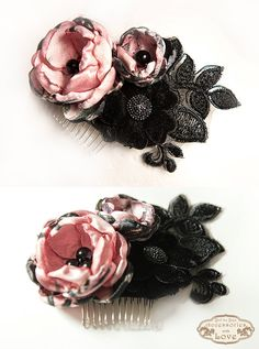 Flower hair comb pink and black hair piece Gift by STILLforSTYLE  #haircomb #flowers #wedding