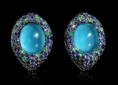 Mousson Atelier, collection New Age - Moss, Black gold 750, London topaz 13,54 ct., Multicolored sapphires, Tsavorites