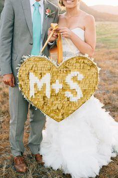 Pretty Gold Wedding Details Ideas - gold fridge pinata with initials on it. Country Wedding Groom, Fall Wedding, Diy Wedding, Wedding Reception, Wedding Venues, Wedding Activities, Wedding Games, Wedding Pinata, 2017 Wedding Trends