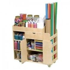 Let your kids' imaginations run wild with this Art Activity Cart by Guidecraft. This art cart will be the only thing you'll need to keep all of the arts and crafts and colorful materials that your kids will need to make their amazing creations. Art Supplies Storage, Art Storage, Craft Supplies, Storage Bins, Classroom Supplies, Storage Center, Storage Cart, Kids Storage, Arts And Crafts Storage