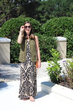 Layered maxi with army vest via With Style and a Little Grace