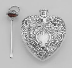 Classic Small Heart Perfume Bottle or Memorial Ash Pendant - Sterling Silver…