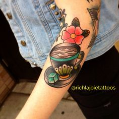 Follow @richlajoietattoos on Instagram! Traditional teacup tattoo. Great feminine tattoo. Traditional tattoo.