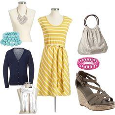 Yellow Dress casual, created by kaylee-forkner-eylander on Polyvore http://www.kayleeeylanderseniors.com