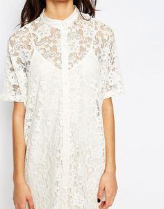 Vila | Vila Lace Shirt Dress at ASOS