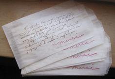 french script merci glassine bags