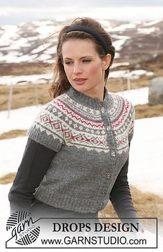 """Frozen Cherries - DROPS short jacket in """"Alpaca"""" with short round yoke sleeves and Norwegian pattern. Size XS to XXL. - Free pattern by DROPS Design Outlander Knitting Patterns, Knitting Patterns Free, Knit Patterns, Free Knitting, Free Pattern, Drops Design, Norwegian Style, Magazine Drops, Fair Isle Pattern"""