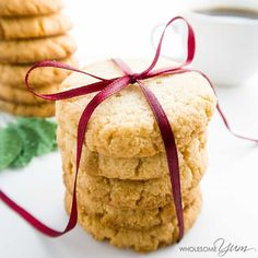 These buttery, low carb & gluten-free shortbread cookies are made with almond flour. Only 1g net carbs each, they're sugar-free, paleo, and THM S, too.