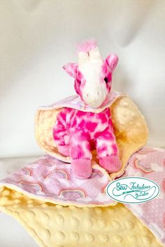 """Unique lovey with combination stuffed giraffe and her very own minky-flannel """"cape""""