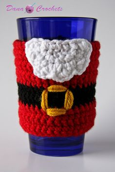 Crochet Santa Christmas Coffee Cozy by DanaMarieCrochets on Etsy, $10.00