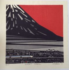 "CLIFTON KARHU (b1927) Limited Edition WOODBLOCK Print ""Bullet Train"" 18/50 1971 in Art, Prints, Modern (1900-79), Limited Editions 